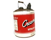 """Vintage """"Cream City"""" Utility Can Jones & Laughlin Steel Corp. 5 Gallon Size Multi-Use Can with Handle Large Advertising Metal Can"""