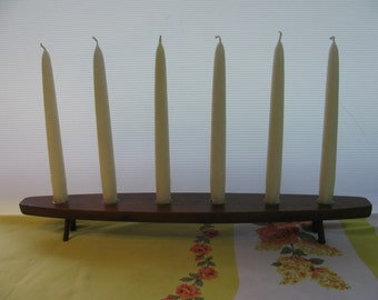 Danish Modern Wood and Brass Vintage 6 Candle Holder Display W/ White Candles