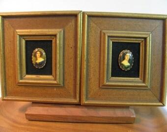 Pair of Wood Framed Faux Miniature Portrait Paintings of Women on Black Velvet by E.A. Riba Co. New York