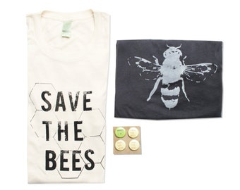 Mens/ Unisex Save The Bees Tshirt Bundle - Organic Cotton - Natural White - Small, Medium, Large, XL - Clothing