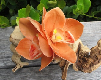 Tropical - Hawaiian  CORAL Two Orchids - hair flower clip - Wedding-