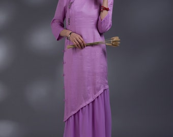 Chinese folk style button sundress in Pink(more colour and size choice)