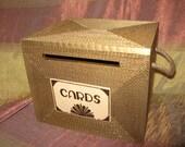 Wedding card box, Card box,  Gatsby, card box with lock, Burlap Rustic wedding card box, MEDIUM Gold Personalized custom card box