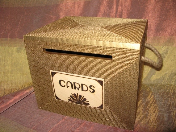 Wedding card box, Card box,  Gatsby, card box with lock, Burlap Rustic wedding card box, MEDIUM Gold Personalized custom card box