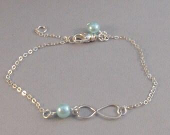 Aqua Infinity,Bracelet,Bridesmaid,Sterling Silver,Infinite,Aqua Bracelet,Blue Bracelet, Bracelet,Turquoise Infinity Bracelet,Turquoise,blue