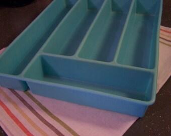 Vintage Turquoise Silverware Tray, Plastic Tray, Flatware Storage, Aqua, Beacon Plastic, 1950s