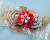 BURLAP & Red Wedding Garter Set, Ivory Bridal Garter, Rustic Lace Garters, Shabby Chic / Vintage / Country Southern Bride