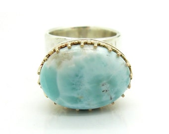Larimar ring set in gold crown & Hammered Sterling silver