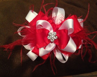 Red & White Stacked Bow