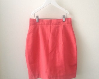 80s 90s Salmon Pink Coral High Waisted Pencil Skirt XS S