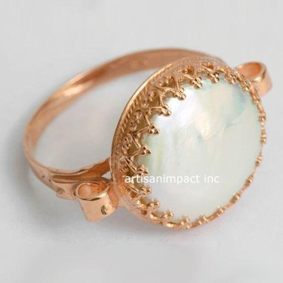 Rose Gold ring engagement gold Pearl Ring 14k by artisanimpact