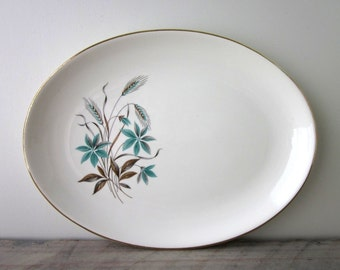Vintage Mid Century Modern Oval China Platter with Aqua Flowers Georgian China 22 KT Gold