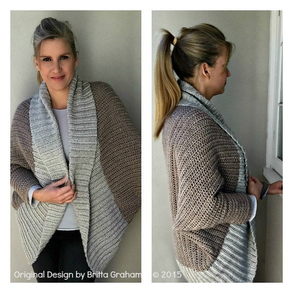 Knitting Patterns For Shrugs With Shawl Collar : Oversized Shrug Crochet Pattern with Ribbed Shawl Collar
