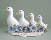 White Bird Decor Baby Room Decor Bird Nursery Decor White Duck Decor Ceramic Bird and Flowers Bird Lover Bird Figurine White Goose Decor