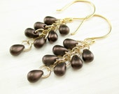 Gold Bronze Earrings, Czech Glass Brown Earrings, Brown Teardrop Cascade, Gold Filled Chocolate Brown Dangle Earrings Bronze Dangle