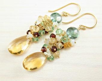 Natural Citrine Earrings, Citrine Cluster Earrings, Citrine Gold Dangle, Multi Gemstone, Green Amethyst, Garnet, Ethiopian Opal Wire Wrapped