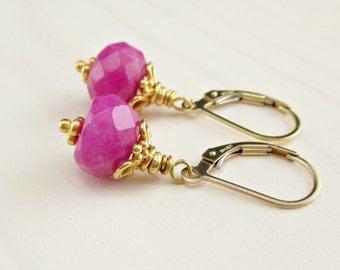 Fuchsia Jade Earrings, Hot Pink Jade Gold Earrings, Gold Leverback, Bali Gold Vermeil Earrings, Bright Gemstone Drop Earrings, Minimalist