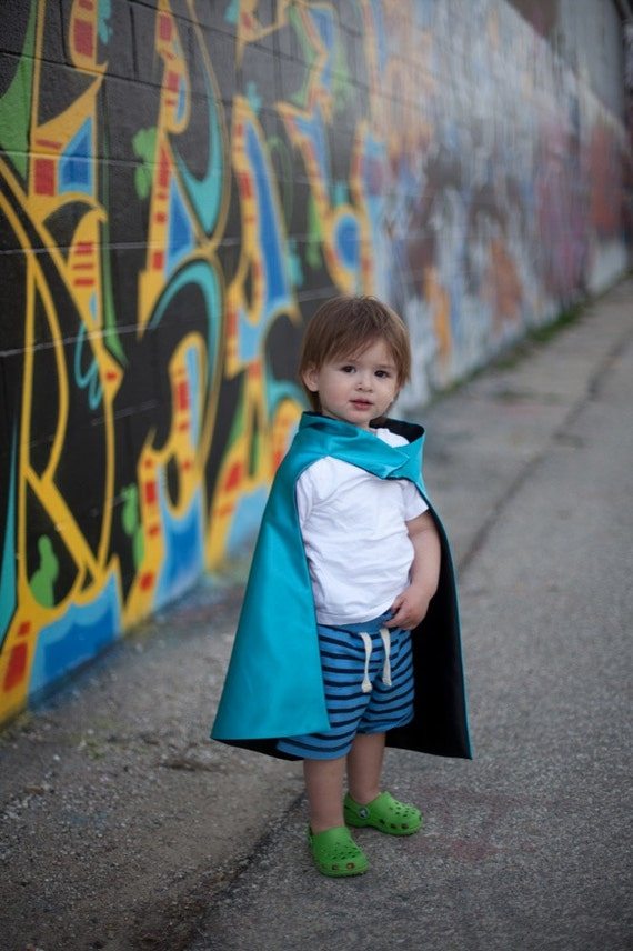 Boy Superhero Cape Reversible Colors Black and Turquoise , 2T - 7T, costume custom colors imaginary play ships fast worldwide
