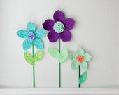 girls room nursery wall decor, 3d fabric wall flower, floral decor, flower wall hanging, jade green fabric flower