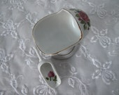 Vintage Rare English Nut Cup with Scoop, White with Pink Roses and Gold Trim, Unique Tableware, ECS