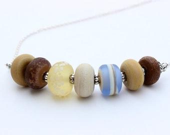 Beach Colors Lampwork Glass Necklace
