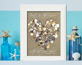Trust in the lord with all your heart- Beach Photography  - Inspirational Wall Art Makes a unique gift - Spiritual  Wall Art