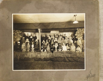 Antique Photograph , Group Photo , Party Photo , Turn of the Century , Black and White , Large Group , Chicago , Arabian Nights ,Photography