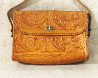 Tooled Leather Purse , Handbag , Western Style, Handmade , Leather Handbag , Natural , Vintage Purse , Boho Chic ,Southwestern ,Western Wear