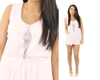 80s Shorts Romper Pink Terrycloth Playsuit Jumper Jumpsuit Womens Summer Fashion Vintage 1980s Small S