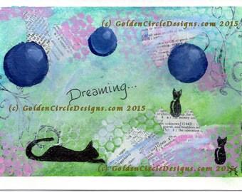 OOAK Green and Purple Kitties Dreaming Mixed Media Blank Greeting Card