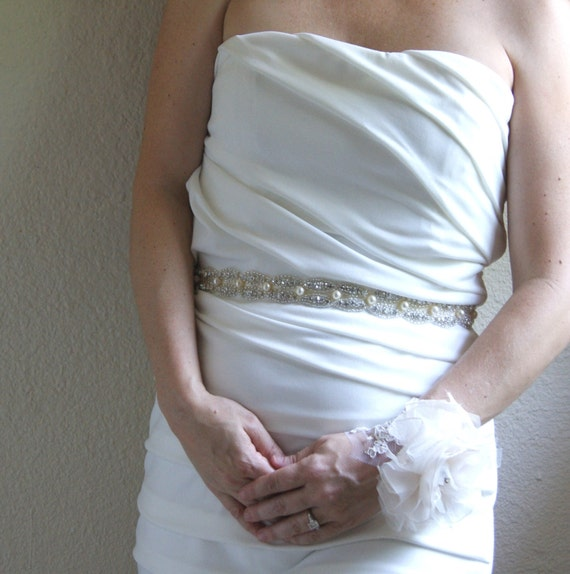 Crystal Bridal Sash MINUET in Silver  - available in gold and champagne also
