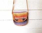 SALE vintage blanket purse, crossbody small bag, southwestern, woven, pastel, striped
