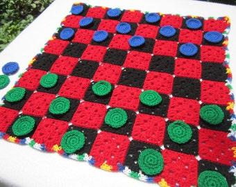 Checker Game Crocheted Checker Game, Large Checker Game, Floor or Table Check Game with Green and Blue Checkers, Family Game