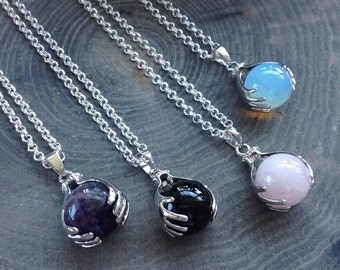 Crystal ball necklace, Amethyst, Rose Quartz, Opalite or Obsidian