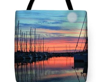 New England Harbor Light Tote Bag