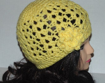 Yellow Crochet Woman's Hat with Flower, Yellow Beanie, Spring Hat