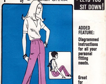 1960s Bell Bottom Pants Pattern - Vintage Else Precision Pants - Hip 34