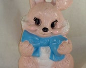 70s Pink Bunny Coin Bank Easter Spring Russ Berrie Hard Plastic