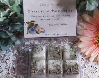 Purification Cleansing Soy Tarts,Lavender, White Sage, Lemon Verbena, Spell Melts