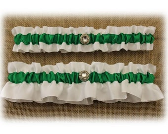 White and  Green Satin Wedding Garter Set with Charms