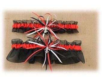 Sheer Black and Red Wedding Garter with Fleur de Lis Charms, Bridal Garter, Prom Garter  (Your Choice, Single or Set)