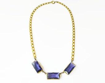 Art Deco Necklace, Bookchain, Violet Glass, Amethyst Purple, Gilt Gold, Antique Necklace, Antique Jewelry