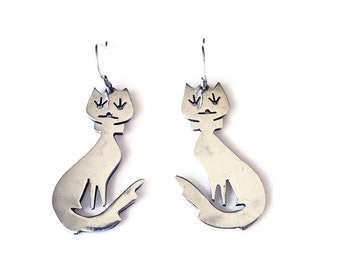 Mexican Sterling Cat Earrings - Sterling Silver, Dangle Drop, Mexico 925, Vintage Earrings, Vintage Jewelry