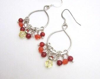 Orange & Yellow Earrings -- Orange Bead Dangles -- Carnelian Dangles -- Orange and Sterling Dangles -- Carnelian and Silver Earrings -- Gems