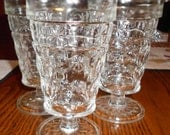 Set of 3, Vintage Glass Footed Tumblers with Flower Pattern