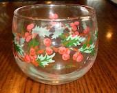 Vintage Glass Hallmark Christmas Votive Tea Light Candle Holder