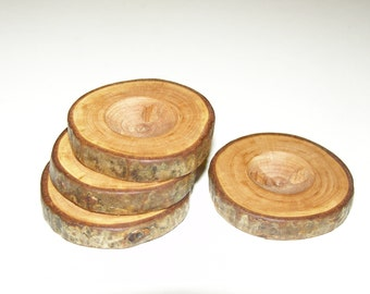 "4 Handmade plum wood Tree Branch Buttons with Bark, accessories (1,5'' diameter x 0,28"" thick)"