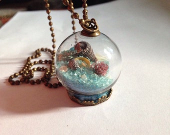 Glass globe beach summer charm pendant necklace