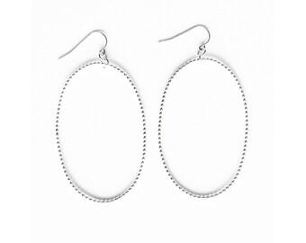 Old Fashioned Silver Oval Earrings - Handmade Beaded Wire Sterling Women Large Statement Women Thin Hoops Dangle Geometric Organic Minimal