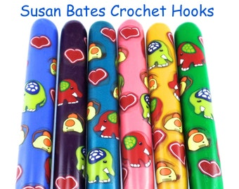 Crochet Hook, Polymer Clay Covered Susan Bates Crochet Hook, Elephant and Mice